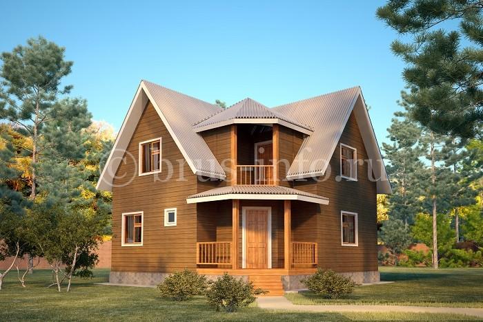 Компактный двухэтажный домик из бруса
