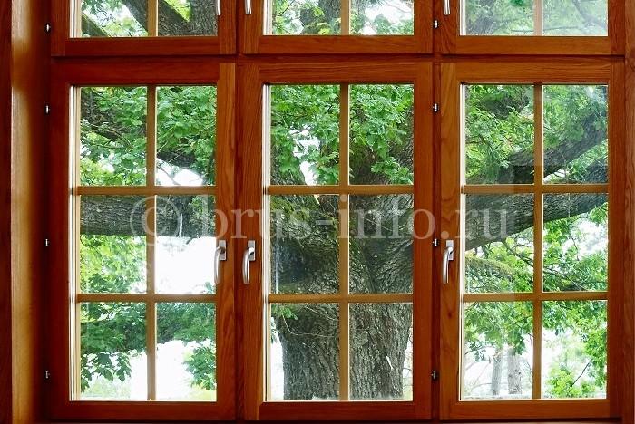 Современное окно из бруса