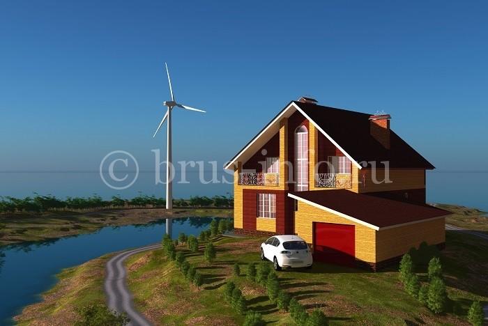 Двухэтажный дом, облицованный фасадной плиткой