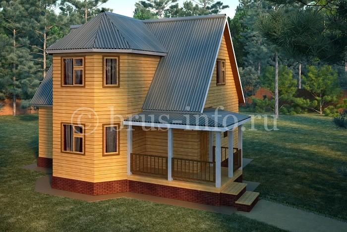 Деревянный дом с обкладкой цоколя кирпичом
